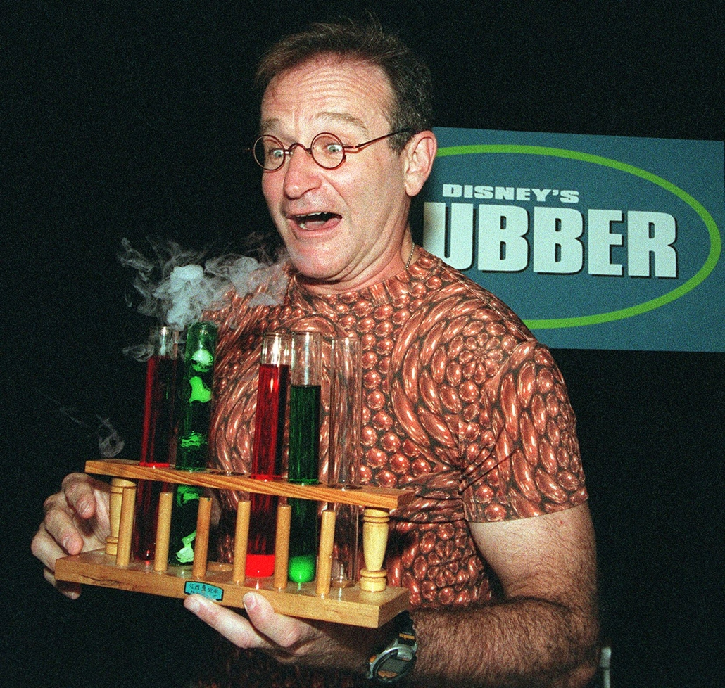 """afp. Robin Williams, Flubber, 1997-12-23 AUSTRALIA, Sydney : American comedian Robin Williams launches his new Disney film """"Flubber"""" at a press conference in Sydney 22 December. """"Flubber"""" is the innovative and high flying remake of the 1961 Disney classic"""