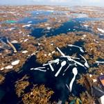Megdöbbentő fotók: így lebeg egy szemétsziget a tengeren