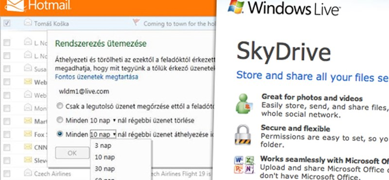 Megújul a Skydrive és a Hotmail: akár 100 MB is lehet egy csatolmány