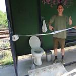 Valaki letett egy WC-t egy buszmegállóban, majd jött a Kétfarkú Kutya Párt