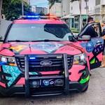 Pink rendőrautó köröz Miamiban