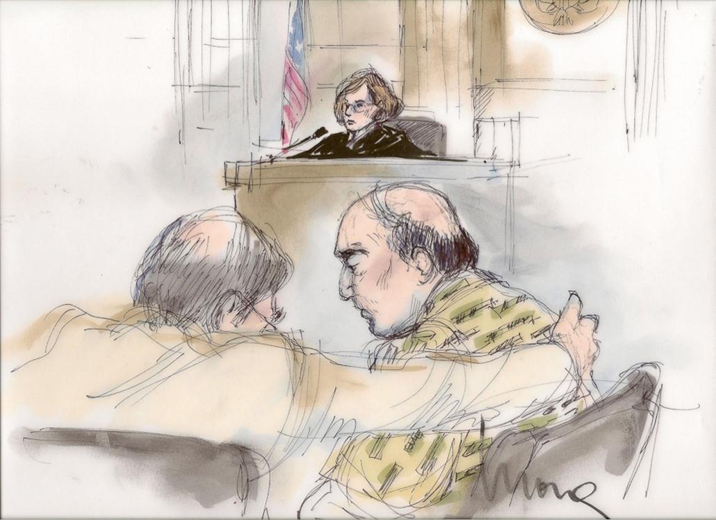 Iszlámellenes film - Bírósági rajz a film készítőjéről, hét képei