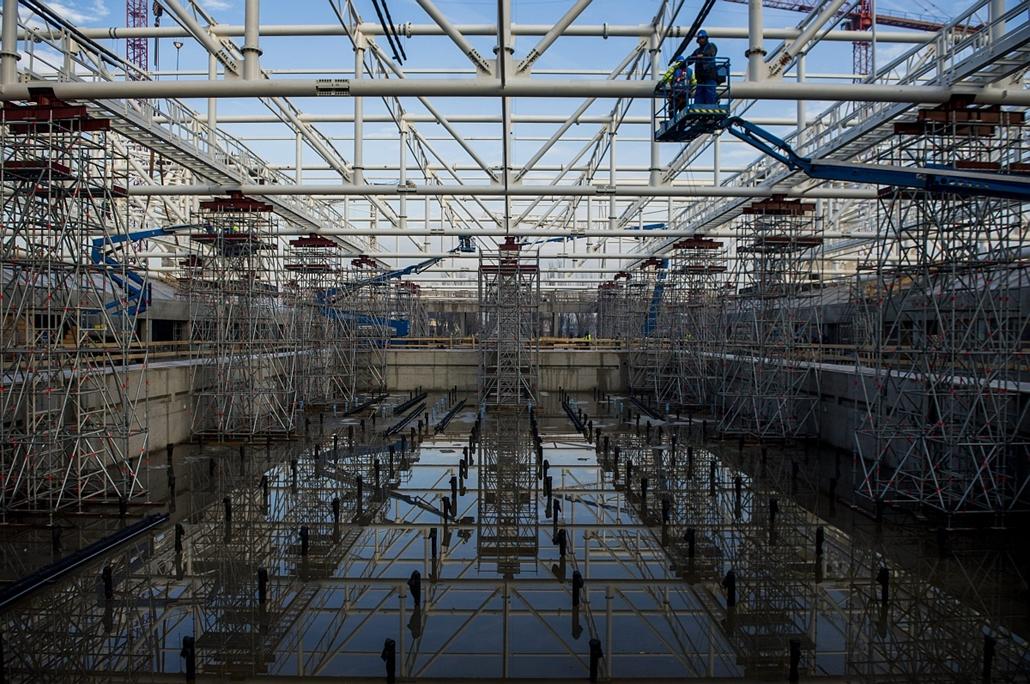 mti.16.01.28. - Épül a 2017-es vizes világbajnokság központi létesítménye, a Dagály Úszóaréna Budapesten 2016. január 28-án.