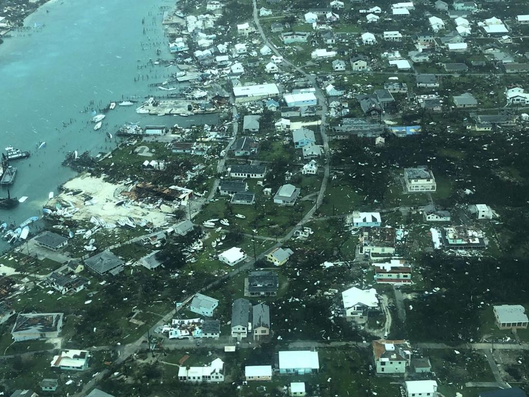 Nagyítás Dorian hurrikán Az amerikai hadsereg orvosi szolgálata (MC) által közreadott légi felvétel a Dorian hurrikán pusztításáról a Bahama-szigeten fekvő Man-o-War Cayben 2019. szeptember 3-án