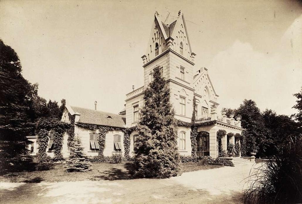 fortep_! - Klösz György kastély nagyítás - Vigyázó Sándor gróf vácrátóti kastélya parkkal. A felvétel 1895-1899 között készült.