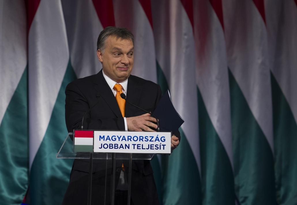 tg.14.02.16. Orbán Viktor miniszterelnök évértékelő beszédét tartja a budapesti Millenáris Teátrumban 2014. február 16-án