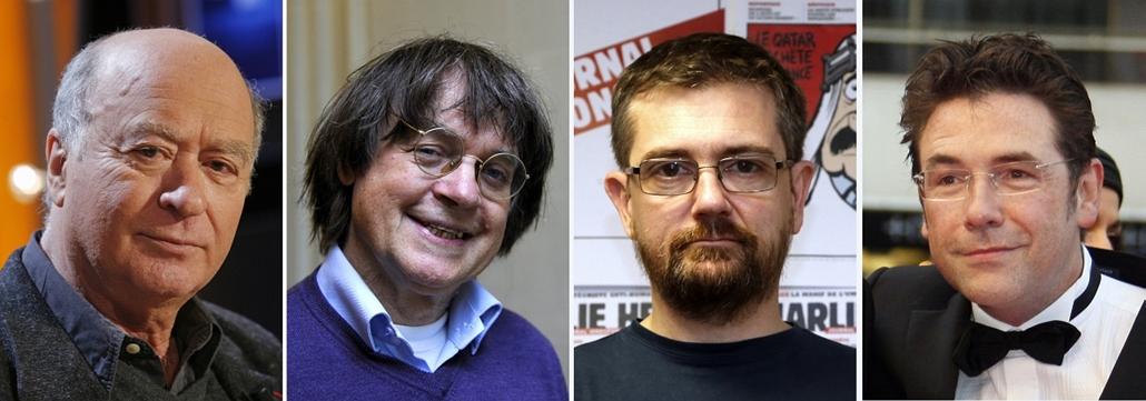 afp.11.08.15. - Párizs, Franciaország: Georges Wolinski, Jean Cabut (Cabu), Charb, Tignous, a Charlie Hebdo karikaturistái - lövöldözés Párizsban