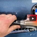 Ez történik, ha 1000 fokos pengét döfnek egy BMW lökhárítójába – videó