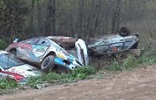 Hat autót gyűjtött össze egy alattomos kanyar egy orosz ralin – videó