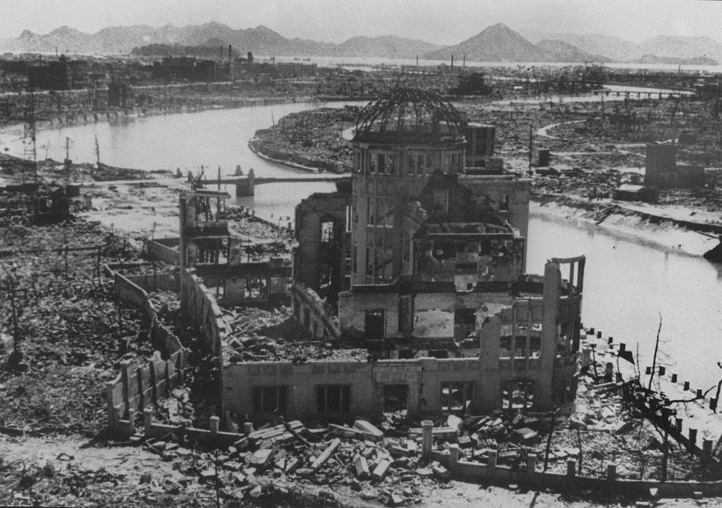 afp.1945. - A prefektusi épület maradványai Hirosimában - atombomba 70, Nagaszaki, Nagasaki, Hirosima, Hiroshima