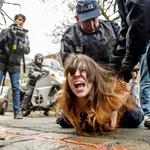 Félmeztelen nők ugrottak a bíróságra érkező DSK autójára – fotók