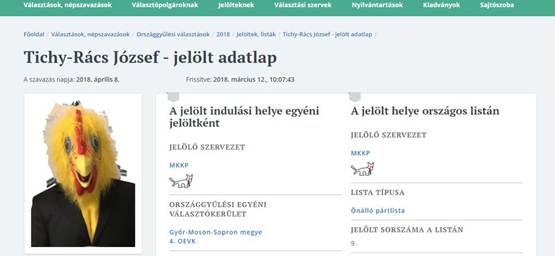 Jól mutatnak a Kutyapárt jelöltjei a Választási Iroda honlapján