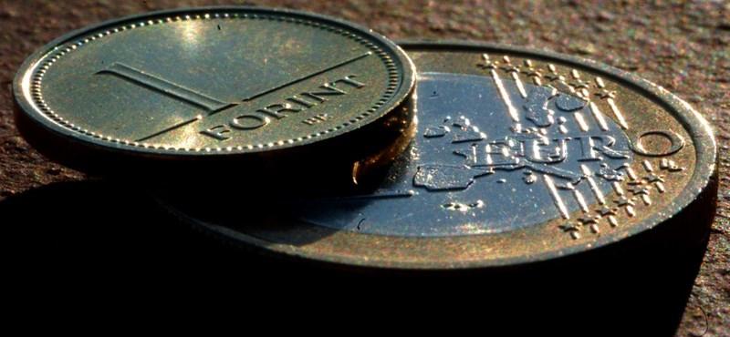 Mélypontra gyengült az euró