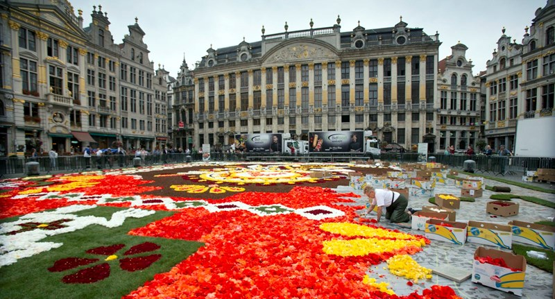 Fotók: 1800 négyzetméteres virágszőnyeggel borították be Brüsszel főterét