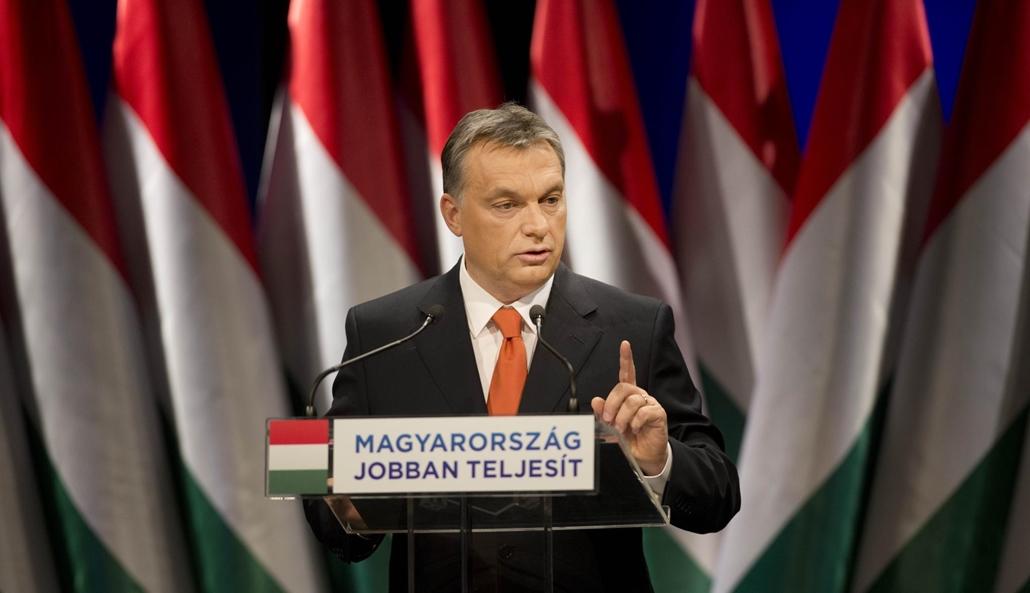 faz.13.02.22. Orbán Viktor miniszterelnök tizenötödik évértékelő beszédét tartja a budapesti Millenáris Teátrumban 2013. február 22-én