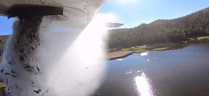 En Estados Unidos, los peces son arrojados al agua vacía desde un enorme avión - video