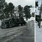 Az hagyján, hogy nem megy fel a kamion a jeges úton, de megindul vissza – videó