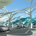 Elektromos autók töltése a napelemes fák árnyékában