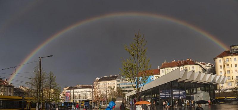 Hatalmas dupla szivárvány jelent meg Budapest felett
