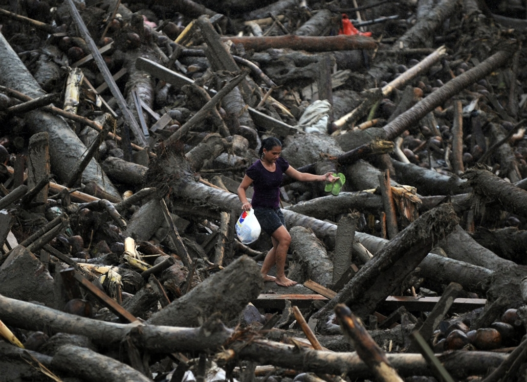 Fák világnapja - PHILIPPINES, NEW BATAAN : A resident carrying a bag full of relief goods walks amongst typhoon debris as she heads for her home in New Bataan, Compostela Valley province on December 7, 2012. President Benigno Aquino vowed action on the Ph
