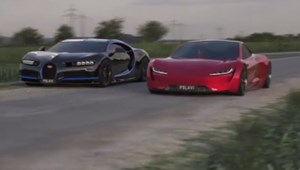 Szinte igazinak tűnik a Tesla Roadster 2 és Bugatti Chiron csatája – videó