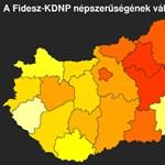 Térkép: itt fakul a Fidesz-narancs a legjobban