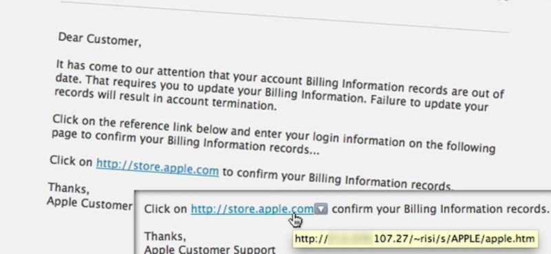 Újabb adathalász levéllel próbálkoznak az Apple felhasználóknál