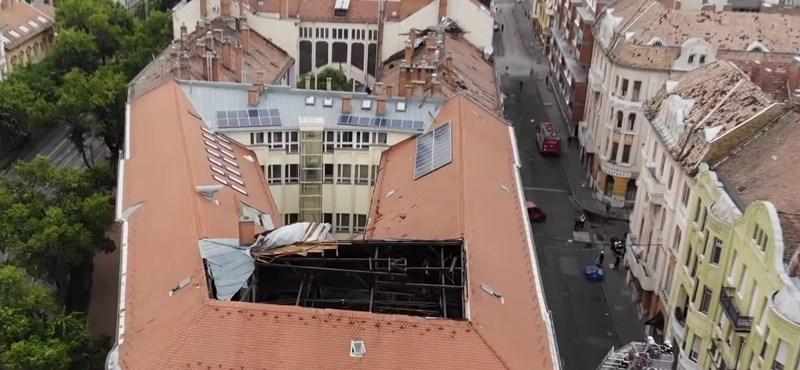 Drónvideón látszik igazán, mekkora károkat okozott a szélvihar Szegeden
