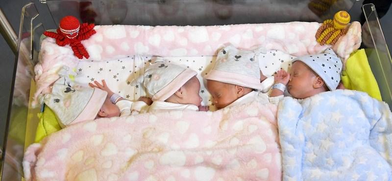 Hazatérhettek a Debrecenben született négyes ikrek – fotók