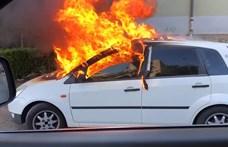 Lángoló autót videóztak a Puskás Ferenc Stadionnál