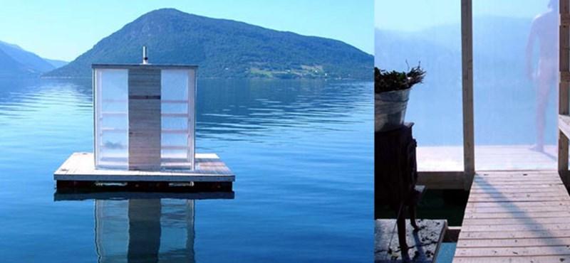 Szauna a fjord felszínén
