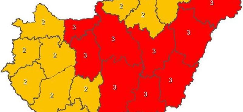 Piros figyelmeztetést adtak ki holnapra kilenc megyére