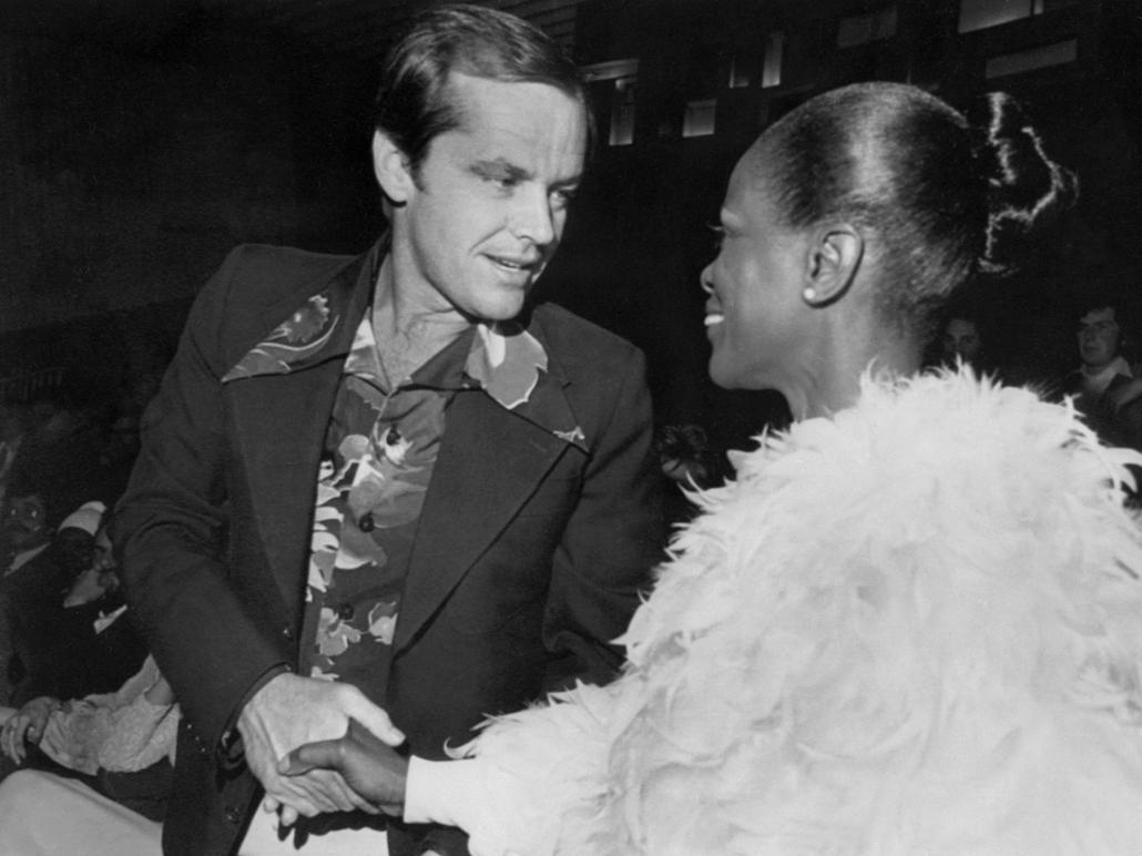afp.1974.04.14. - Cannes, Franciaország: Jack Nicholson és a ''The Autobiography of Miss Jane Pittman'' főszereplője, Cecily Tyson Cannesban 1974 áprilisában.