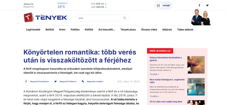 """A TV2 szerint romantikus, hogy """"a szeretetet kifejező"""" verés után egy nő visszaköltözött férjéhez"""