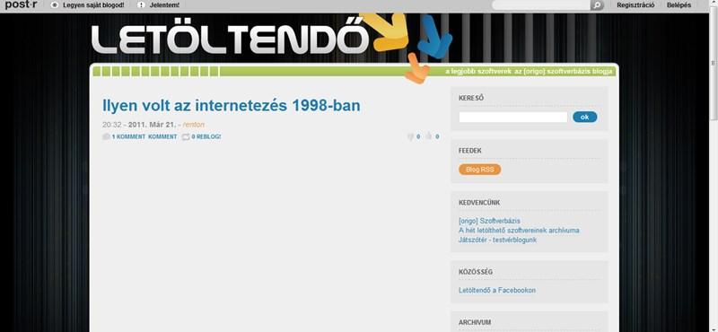 Milyen volt az internetezés 1998-ban?