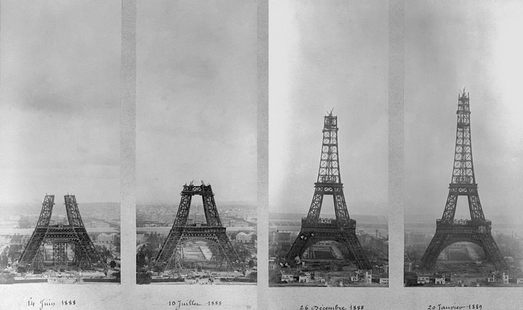 afp. Párizs, Franciaország Eiffel-torony épül,  Annick Benois június 14, 1888, július 10, 1888 december 26., 1888 és január 20., 1889.