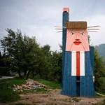 Porig égett Trump faszobra Szlovéniában