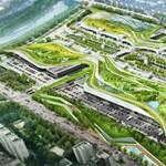 A jövő plázája: zöld tető, úszómedencével