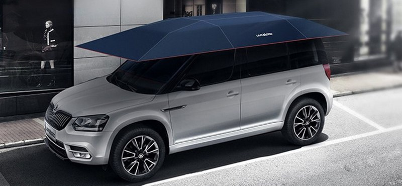 Akár távirányítós gigant-esernyőt is vásárolhatunk autónknak