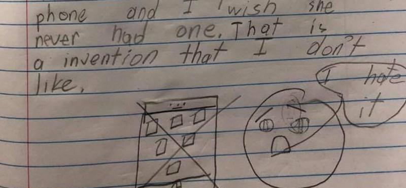 Bárcsak anya telefonját soha nem találták volna fel – szívszorító dolgozatot írt egy 8 éves diák, százezrek osztják a Facebookon