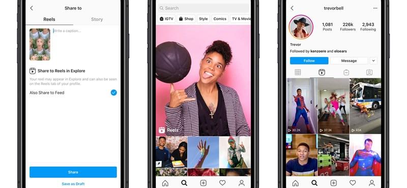 Elindította az Instagram a lemásolt TikTokot, itt a Reels