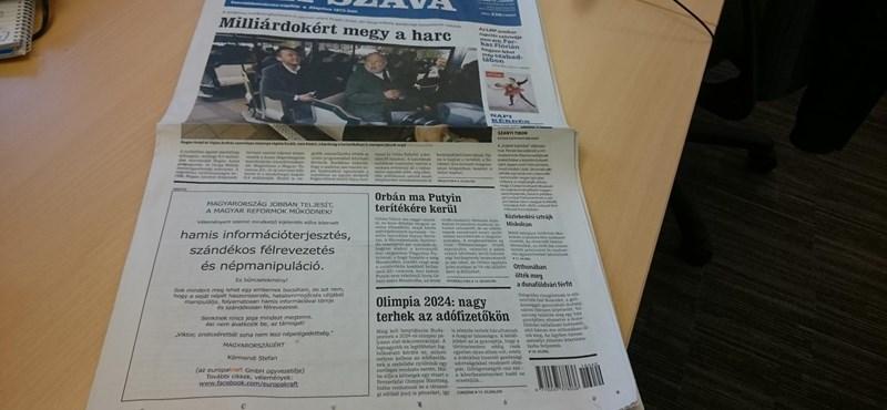 És akkor címlapon küldi el a cégvezér Orbánt a búsba