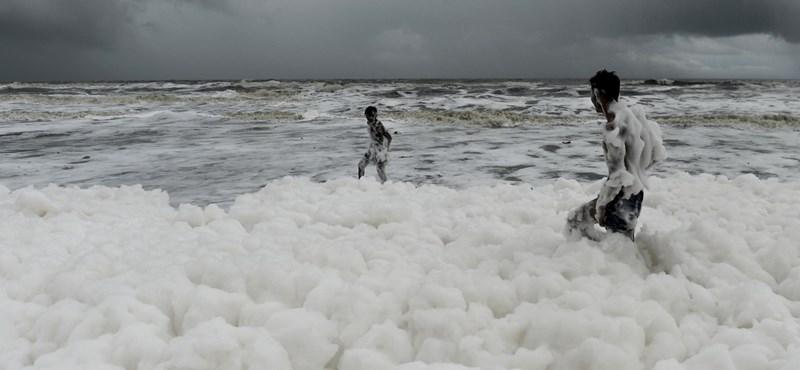 Bűzös hab borította be India leghíresebb tengerpartját, súlyos környezetszennyezés lehet az oka