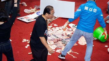 Verekedtek, disznóbelsőséget dobáltak egymásra tajvani parlamenti képviselők – videó