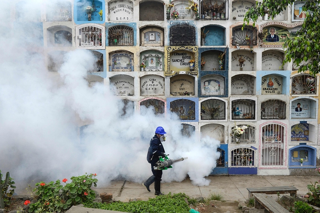 afp. 2016.01.15. Lima, Zika vírus, zikavírus, zika-vírus, szakember fertőtlenít, A specialist fumigates the Nueva Esperanza graveyard in the outskirts of Lima on January 15, 2016. Three cases of Zika virus were recorded in the US state of Florida on Janua