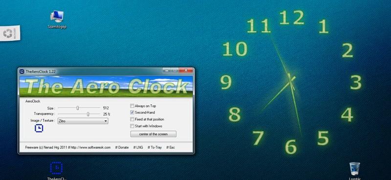 Működő analóg óra a Windows hátterére, ingyen