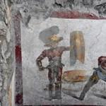 Fotók: Szenzációs gladiátoros freskót találtak Pompejiben