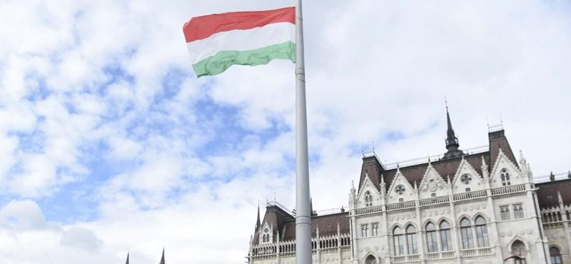 Első fokon 120 ezer forintra büntették a Kossuth téri országzászlót összefirkáló nőt