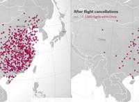 Egy szemléletes ábra a koronavírus gazdasági hatásáról: drasztikusan visszaesett a repülők száma