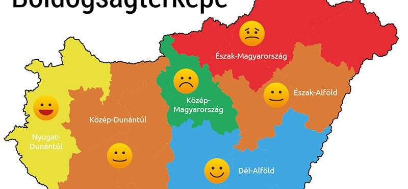 magyar térkép Élet+Stílus: Térkép készült a magyar boldogságról   HVG.hu